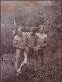 Three men pose with strategically-placed branches on Mt. H'Kusam (circa 1930s)