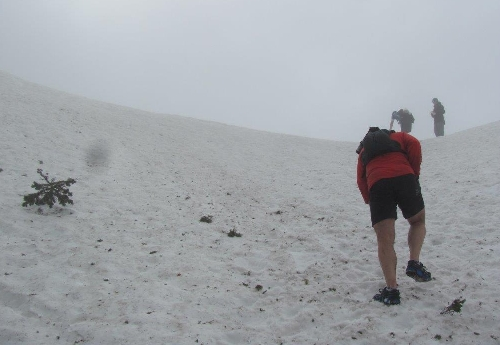 Climbing to the trail summit